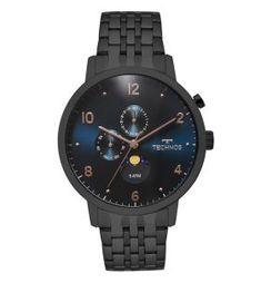 2e4a020982f Relógio Technos Calendário Lunar Masculino Preto - 6p21aa 4p