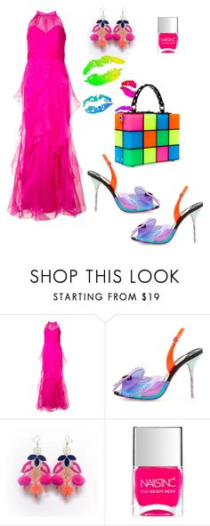 """Neon Lights"" by elisabethscott ❤ liked on Polyvore featuring Badgley Mischka, Sophia Webster, Nails Inc. and Dolce&Gabbana"