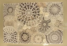 Items similar to crochet doily and tattered flowers on canvas on Etsy