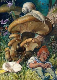 """Martin Wiegand (German, 1867) - """"Snail and a Dwarf"""" 