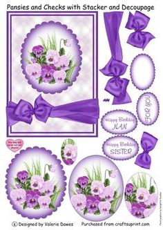 Pansies and Checks with Stacker and Decoupage on Craftsuprint designed by Valerie Dawes - Another of my Best of Both Worlds sheets, a card front with a pretty oval stacker of purple and lilac pansies and a satin ribbon and bow which are fully decoupageable. The matching greetings ovals look pretty placed over the ribbon to the right of the bow, tho they could equally go underneath the image to make a larger card