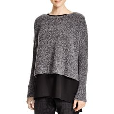 Eileen Fisher Boucle Boat Neck Sweater ($173) ❤ liked on Polyvore featuring tops, sweaters, charcoal, boat neck tops, boatneck top, black sweater, boatneck sweater and black top