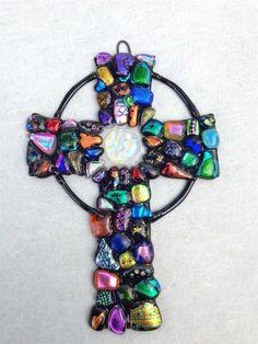 Handmade Dichroic Glass Cross by Treecies on Etsy