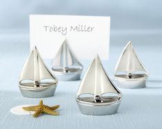 "So shiny ""Shining Sails"" Place Card Holder Wedding Favors (4/set), volume discounts. #placecardholderfavors"