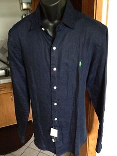 f054f520b16e Polo Ralph Lauren Mens Navy Blue Bradford Custom-Fit Linen Shirt L NWT MSRP   125