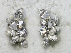 Stunning clear clipons earrings for Bridal Bride by AnhsJewelry,