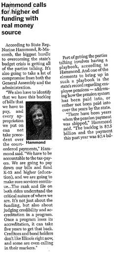 Illinois State Representative Norine Hammond: In the News: Hammond calls for Higher Ed Funding with Real Money Source (from the McDonough Voice, March 23, 2016)
