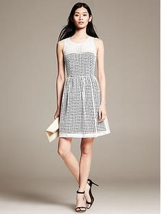 Eyelet Fit-and-Flare Dress - Dresses