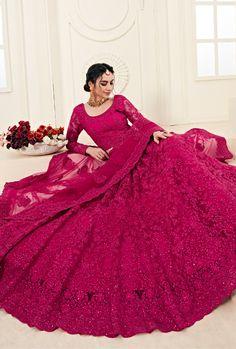 Lehenga Style, Pink Lehenga, Bridal Lehenga Choli, Net Lehenga, Anarkali, Indian Wedding Lehenga, Pakistani Bridal, Punjabi Wedding, Bridal Outfits