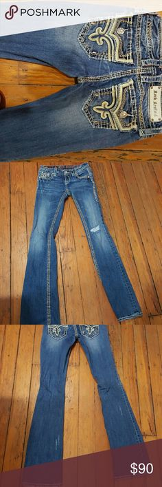 Rock Revival kai Style kai boot cut sz 25 they came with the distressing inseam 33 will trade for RR Charon straight leg sz 24 or jacklyn sz 23 the ones that have all the holes must be patched behind the holes also some true religion jeans sz 24 ( sz 23 if they have a lot of stretch) Rock Revival  Jeans Boot Cut