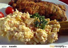 "Strouhaný bramborový salát ""slánský"" recept - TopRecepty.cz Salad Recipes, Grains, Rice, Treats, Chicken, Cooking, Food, Catalog, Goodies"