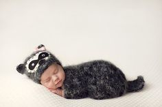 Baby raccoon hat and sack