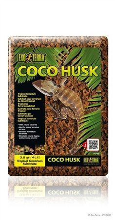 Sustrato Coco Husk  EXOTERRA La tierra para plantar es hecha con fibra de cáscara de coco comprimida en cubos de plantaciones del Asia tropical.