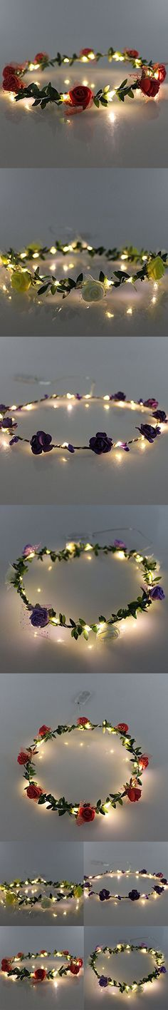 JOJOO Set of 4 LED Flower Garland Headband - Crown Festival Floral Flower Wedding Hair Wreath Headdress with LED Decor LT036*4