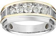 Men's Two-Tone Gold 1 Carat Diamond Artisan Wedding Band Mens Emerald Rings, Mens Gold Rings, Rings For Men, Rose Gold Texture, Topaz Ring, Princess Cut Diamonds, 1 Carat, Anniversary Rings, Yellow Gold Rings