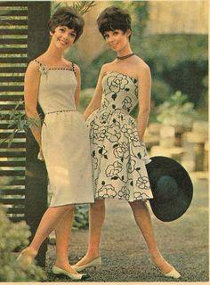 Frederick & Nelson 1962 black and white print sheath dress strapless full skirt photo print ad 60s models magazine
