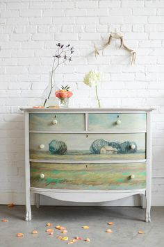could adapt this concept to feature a soft seaside look.....or mermaid?www.decor8design.com Painted Furniture by Barb Blair.