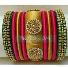 Trendy Silk Thread Bangles set Multi color Set 3 Big Bangles 6 Small Bangles With Stone and Bead Works Green , Golden and Magenta Combination Silk Thread Bangles Design, Silk Thread Necklace, Silk Bangles, Thread Jewellery, Beaded Jewelry, Diy Jewelry, Bridal Bangles, Fabric Jewelry, Handmade Jewellery