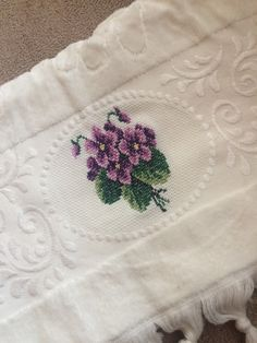 #Kanaviçe Hand Towels Bathroom, Sweet Violets, Pansies, Home Textile, Cross Stitch Patterns, Needlework, Diy And Crafts, Hello Kitty, Textiles