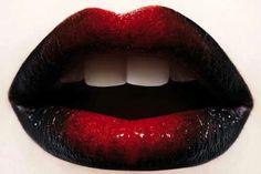 Sexy Dark Glossy Red Lipstick Pic
