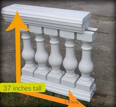 Quick Overview The 6 Piece Baluster & Rail Concrete Mold Set includes: * Four commercial quality baluster molds for concrete tall x 6 square top and bottom (heavy duty, injection molded ABS p Concrete Molds, Concrete Casting, Concrete Countertops, Patio Railing, Balcony Railing Design, Railing Ideas, Porch Balusters, Concrete Porch, Cement Patio