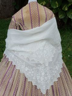 Sublime Pre Civil War Embroidered Fold Over Shawl C 1855   eBay sadira33610, made of fine muslin, for at-home wear, sides cut to accommodate arms, perimeter hand embroidered - bell flowers, foliage, tendrils