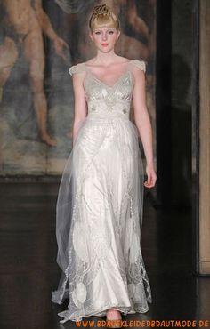 2013 Neuer Stil langes modernes Brautkleid aus Satin