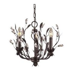 """3-light chandelier in antiqued brass with metal and crystal leaf accents.         Product: Chandelier    Construction Material: Metal and crystal    Color:  Antiqued brass    Features:  Leaf accents    Will enhance any decor  Accommodates: (3) 60 Watt medium base bulbs - not included   Dimensions: 13"""" H x 16"""" Diameter"""