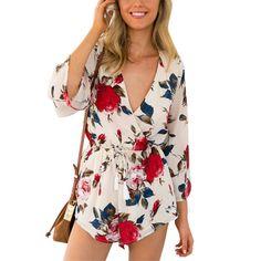 de0f85eba191 Simplee Apparel Boho red floral print elegant jumpsuit romper Summer style  sexy v neck women playsuit Beach chiffon overalls