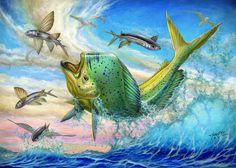 umping Mahi Mahi And Flyingfish - Painting by Terry Fox