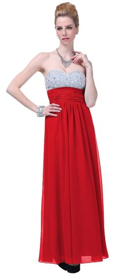 Red Crystal Bodice Tie - Open Back Dress. Free shipping and guaranteed…