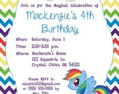 Custom, Personalized Rainbow Dash My Little Pony Birthday Invitation