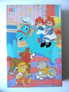 """Vtg. 1989 Macmillan MB 60 Pieces Raggedy Ann and Andy Puzzle 11 x 16"""" New Sealed"""