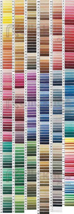 Tabela de cores de linhas para bordar Anchor