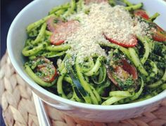 Must try this! The Simple Veganista: Spicy Kale Pesto with Zucchini Noodles