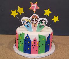 Powerpuff girls cake with edible image topper