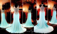 Aqua Jersey Formfitting Prom Dress-Completely Beaded Bodice-Straps-Train-115BP0X22700425