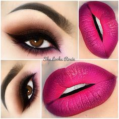 Valentine's Day Makeup Ideas: Brown Smokey Eyes with Berry Ombre Lips | She Looks Rosie