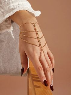 1pc Rhinestone Engraved Layered Mittens Bracelet Stylish Jewelry, Cute Jewelry, Jewelry Accessories, Fashion Accessories, Fashion Jewelry, Jewelry Design, Body Chain Jewelry, Hand Jewelry, Women's Jewelry