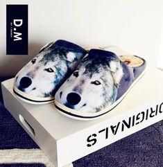 2017 новый 3D иллюстрации животных крытый хлопок тапочки нескользящей дома мультфильм моды домой обувь осенью и зимой - Taobao