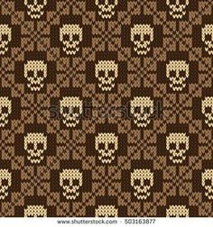Seamless pattern with skull and ethnic mexican elements. Day of the dead, a traditional holiday in Mexico. For postcard or celebration design. Traditional Latin American patterns and ornaments Knitting Basics, Knitting Charts, Knitting Stitches, Knitting Projects, Free Knitting, Crochet Skull Patterns, Fair Isle Knitting Patterns, Cross Stitch Patterns, Tapestry Crochet Patterns
