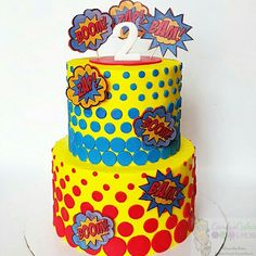 This would be pretty easy to make for the RS Party. 4th Birthday Cakes, Boy First Birthday, 3rd Birthday Parties, Birthday Fun, Birthday Celebration, Birthday Ideas, Comic Book Parties, Comic Party, Superhero Baby Shower