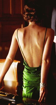 """""""...falling in love could be achieved in a single word—a glance.""""Ian McEwan, """"Atonement"""" (Keira Kinghtley in the green evening gown from the film """"Atonement"""")"""