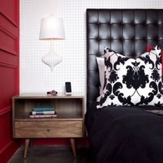 Black, white, red and wood