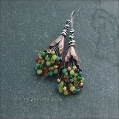 "Strukova Elena - she writes ""my special earrings with colored beads Miyuki, made of silver and copper"