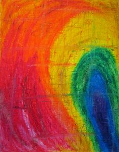 Prismatic - abstract oil pastel drawing