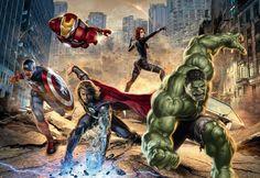 The Avengers Marvel Iron Man Thor Hulk Art Print Photo Glossy Poster Avengers 2012, Avengers Comics, Avengers Poster, Comic Poster, Avengers Age, Avengers Memes, Hero Poster, Comic Art, Comic Books