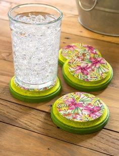 Make Duck Tape tropical coasters