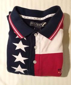 NWOT Ivy Crew Large Red White Blue Stars Stripes Men's Polo Short Sleeve Shirt #IvyCrew #PoloRugby