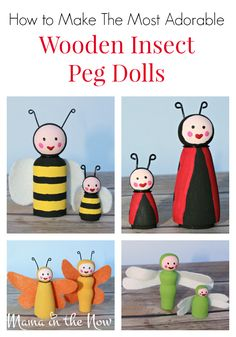 How to make the most adorable wooden insect bug peg dolls. Great bug and insect craft for kids of all ages. Butterfly, dragon fly, bumble bee, and a lady bug!